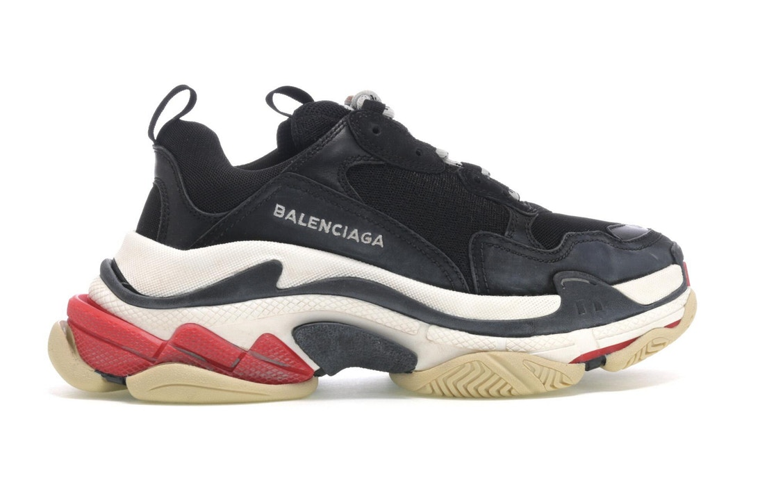 Balenciaga Black Triple S Black Green Red Yellow Sneakers