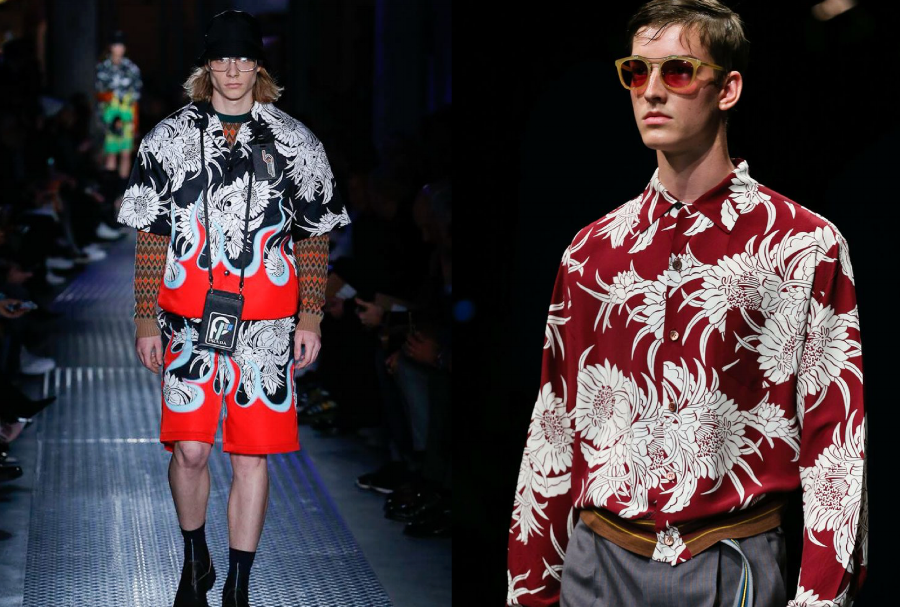 Prada F/W 2018 chrysanthemums (left) & Prada S/S 2014 mens (right)