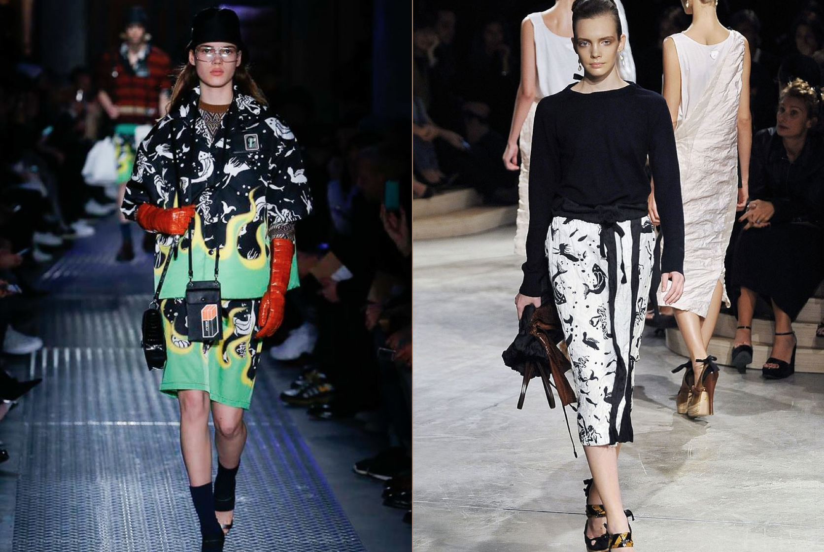 Prada F/W 2018 fish (left) & Prada S/S 2009 (right)