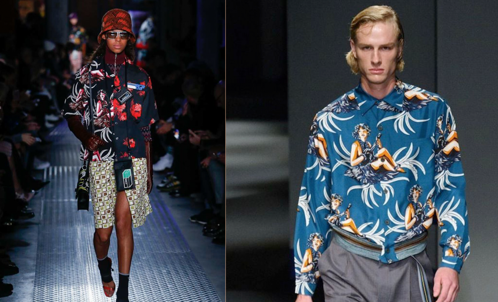 Prada F/W 2018 hula girls (left) & Prada S/S 2014 mens (right)
