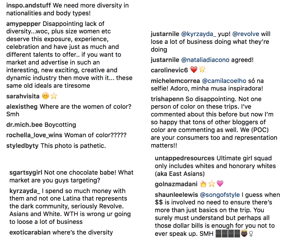 Some of the comments on Revolve's photos