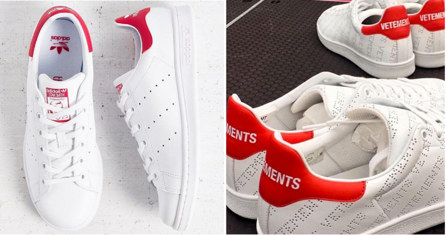 adidas' Stan Smith (left) & Vetements' sneaker (right)