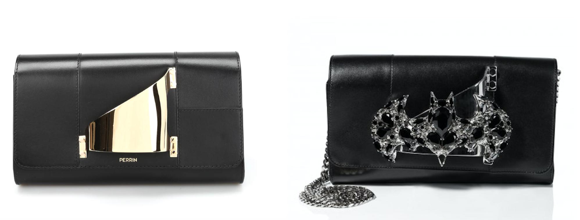 Perrin's Eiffel clutch (left) & Plein's Kindness clutch (right)