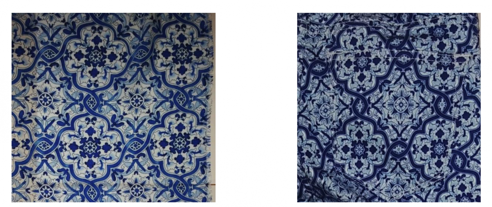 Nuance's print (left) and Zara pants (right)