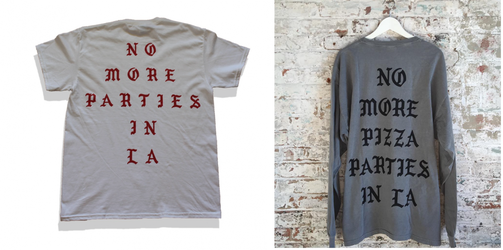 Kanye West's t-shirt (left) & Freedman's t-shirt (right)