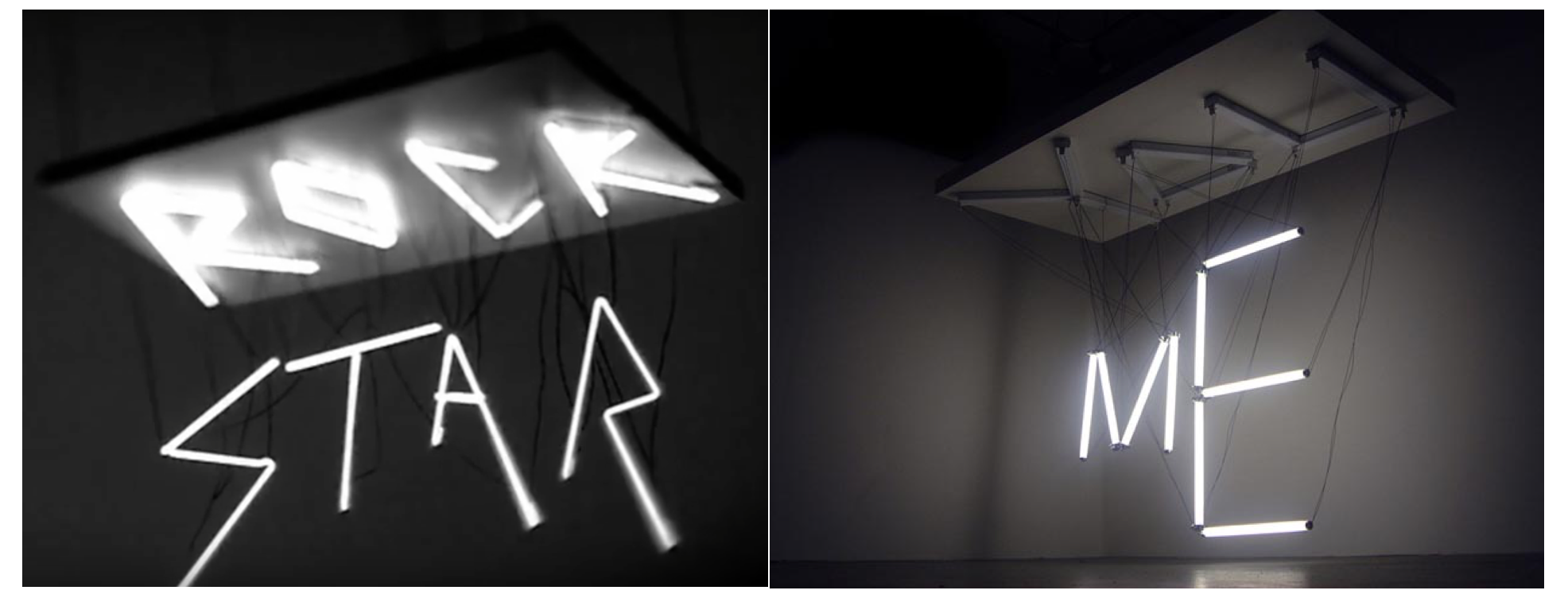 The installation from Rihanna's video (left) & Clar's work (right)