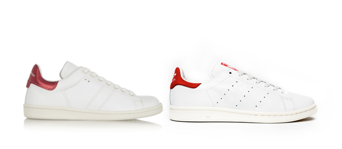 Isabel Marant's Bart sneaker (left) and Adidas's Stan Smith (right)