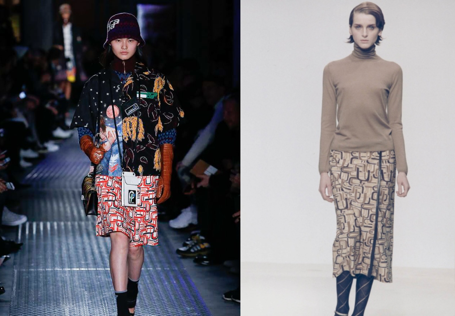 Prada F/W 2018 geometric print (left) & Prada F/W 1996 (right)