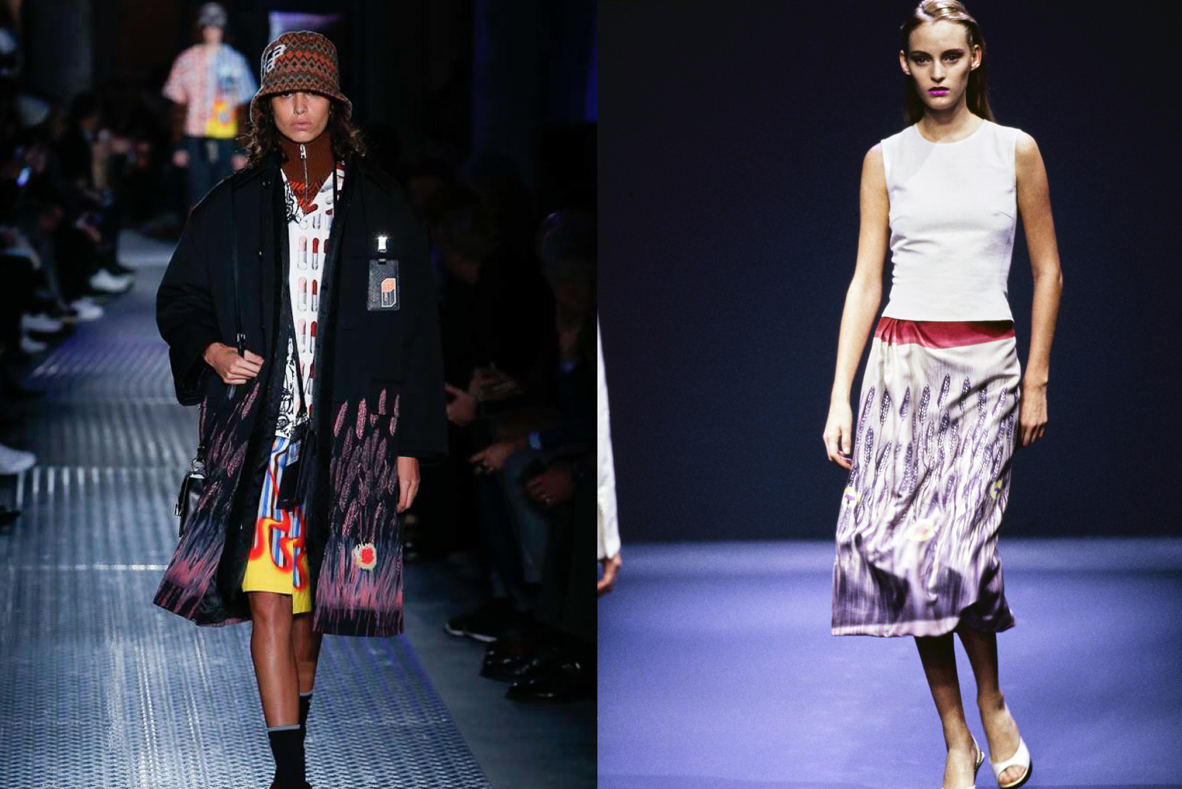 Prada F/W 2018 feathers (left) & Prada S/S 1998 (right)