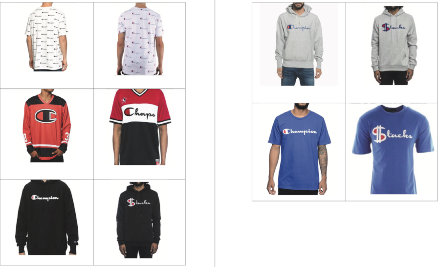 Champion apparel (left) & Hudson Outwear (right)