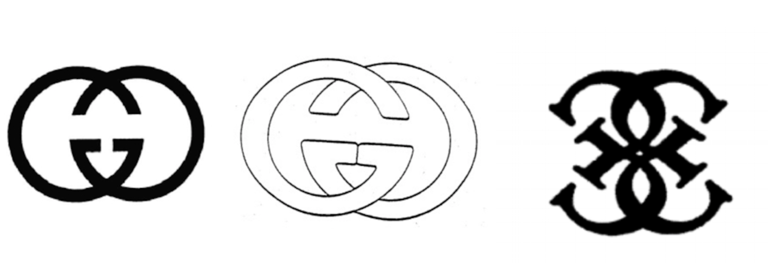 Gucci's logos (left and center) & Guess' logo (right)