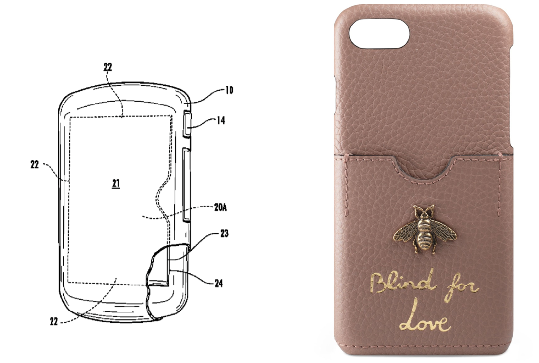 Cardshark's '904 patent (left) & one of Gucci's iPhone cases (right)