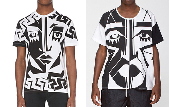 Versace's tee (left) and KESH x American Apparel (right)